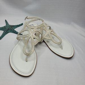 Fergalicious T-Strap White Sandals NWOT